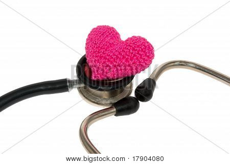 pink heart on a stethoscope