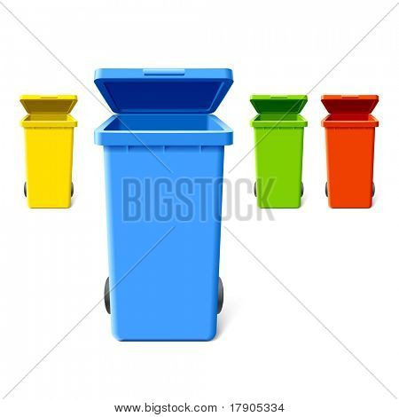 Colorful recycling bins. Vector.