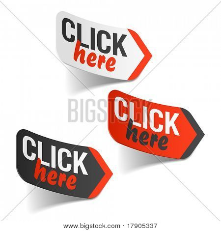 Click here sign. Vector.