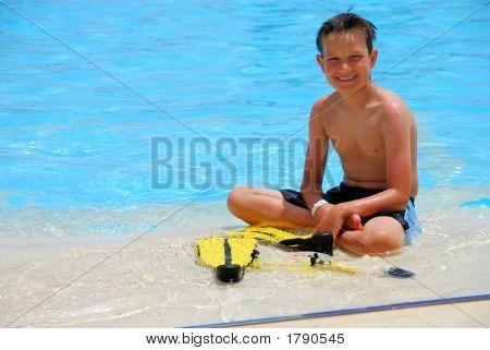 Happy Boy In Water