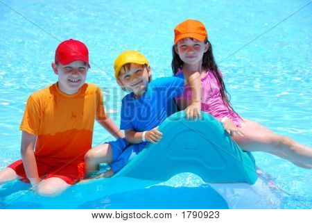 Happy Kids In Pool