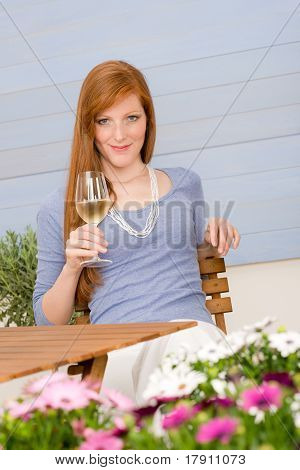 Summer Terrace Redhead Woman Hold Glass Of Wine