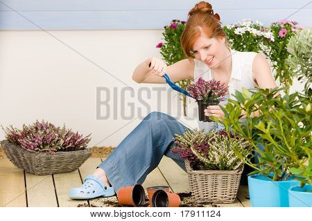 Summer Garden Terrace Redhead Woman Potted Flower