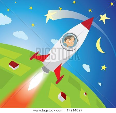 Happy Boy Astronaut Flying On Rocket Into Space