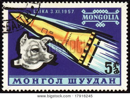 Soviet Rocket And Dog Laika On Mongolian Post Stamp
