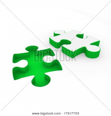 3D Puzzle Green White