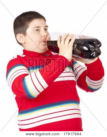 A Young Men Drinking Soda From A Plastic Bottle