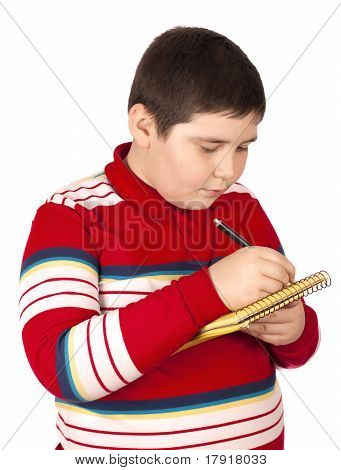 Boy Who Writes On A Notepad