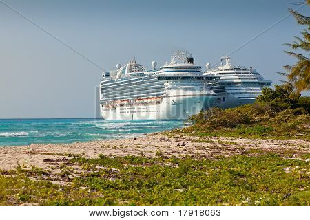Two Cruise Ships Anchored In Grand Turk, Caicos Islands