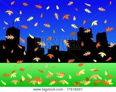 Skyline de Dallas no Outono com folhas caindo