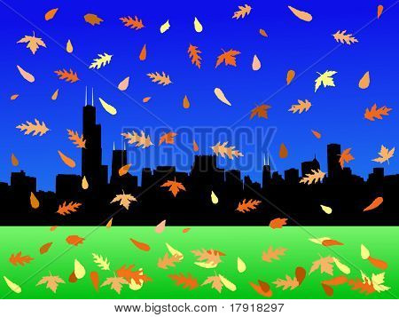Chicago skyline in autumn with falling leaves