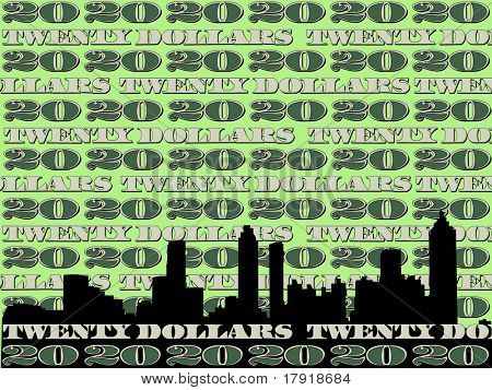 Atlanta skyline and twenty dollar bill illustration