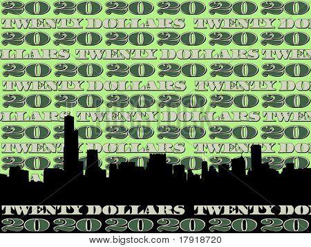 Chicago Skyline against twenty dollar bill