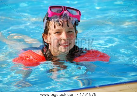 Happy Young Girl In Water