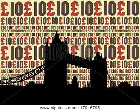Tower Bridge London against ten pound illustration
