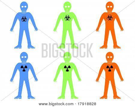 colourful hazmat or bio hazard suits illustration