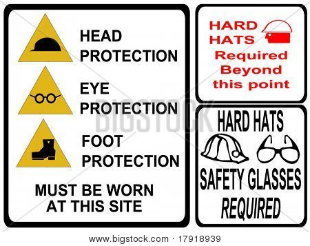 construction safety signs eye head foot protection