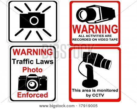 câmera e CFTV ilustração de sinais de aviso