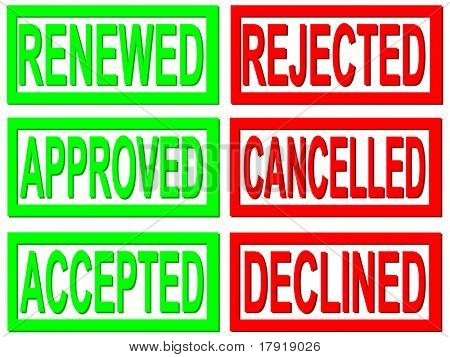 renewed, approved, accepted, rejected, cancelled and declined red and green stamps on white background