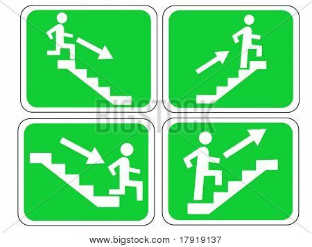 Emergency exit signs with figure and stairs
