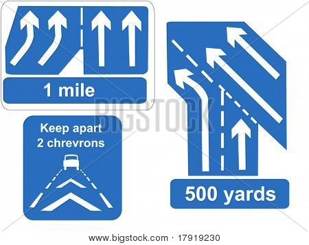 Motorway lanes merging and keep your distance signs