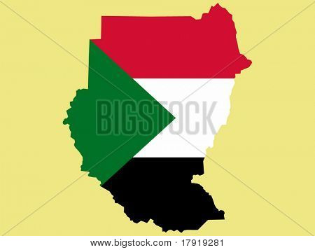 map of Sudan and Sudanese flag illustration