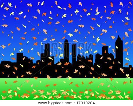 Atlanta Skyline in autumn with falling leaves