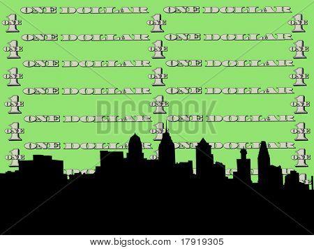 Philadelphia skyline against one dollar bill
