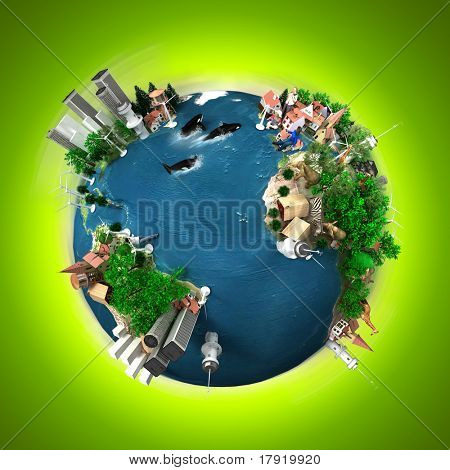 A symbolic overpopulated Earth surrounded by a green halo
