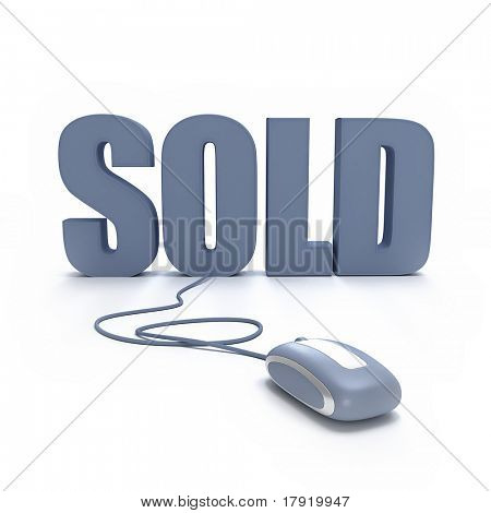 3D rendering of the word Sold connected to a mouse