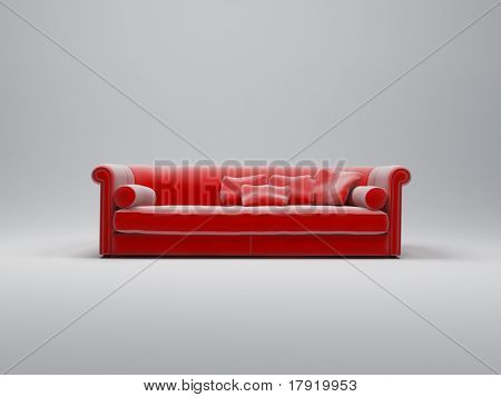 Red velvet luxurious sofa with matching cushions