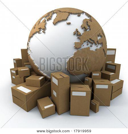 Tierra blanca y cartón rodeado de grandes cajas de cartón