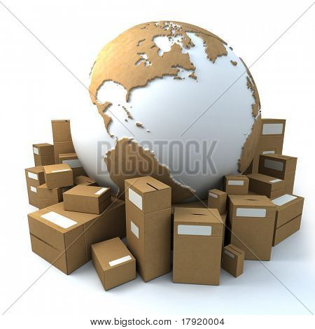 White and cardboard earth surrounded by big cardboard boxes