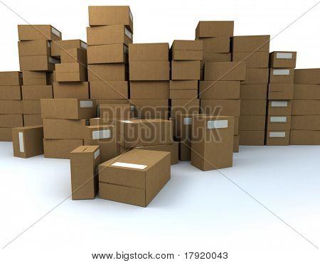Enorme montón de cajas de cartón