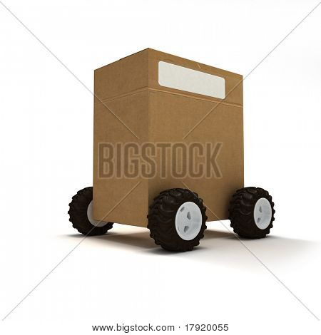 Cardboard box package on wheels
