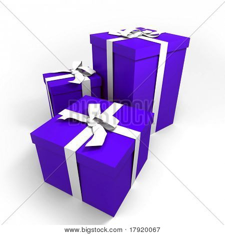 three Big blue gift boxes with a white ribbons on a neutral background