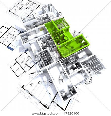 Apartment highlighted in green on a white architecture mockup on top of architect's plans