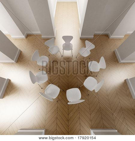 3D-rendering of a room with a circle of nine white chairs