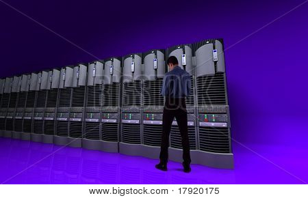 Young businessman standing in front of a server line
