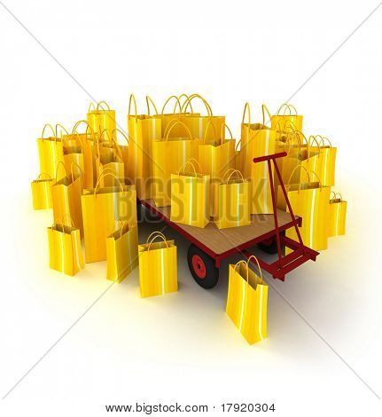 Pallet truck full of yellow stripped shopping bags against a white background