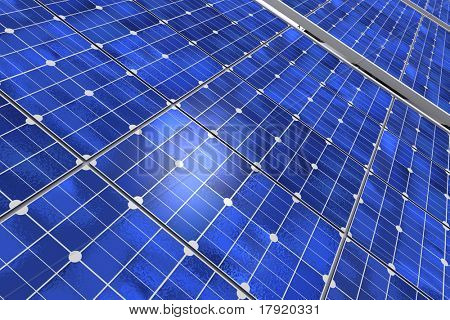 Close-up shot of a solar panel
