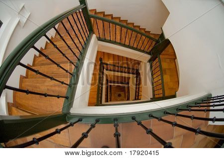 Vertiginous view at the top of the stairs