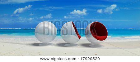 Designer seats in a Caribbean beach