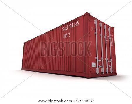 rote Frachtcontainer vor weißem Hintergrund