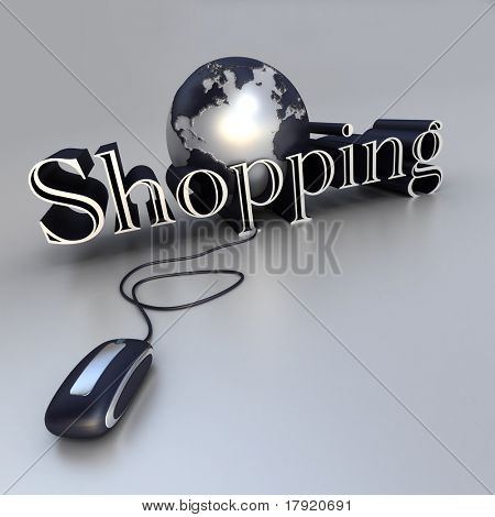 3D-rendering of a world globe, a computer mouse and the word Shopping in red and silver shades