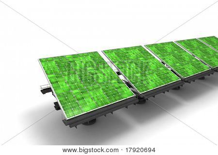 Row of green solar panels against a white background