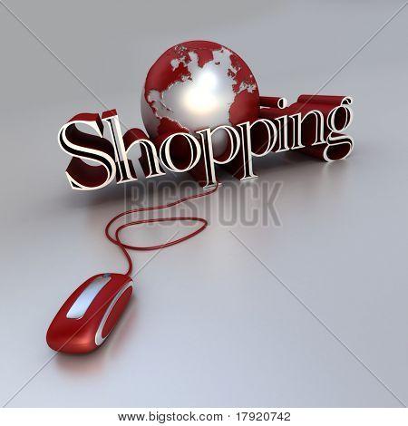 Representación 3D de un globo del mundo, un ratón de la computadora y la palabra compras en tonos azules y plata