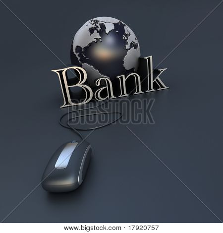 3D-rendering of a world globe a computer mouse and the word bank in blue and silver shades