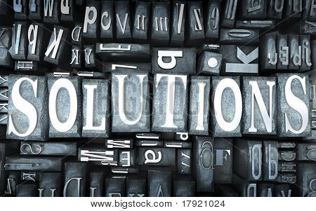 The word solutions written in print letter cases