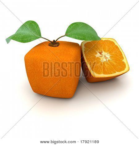 3D-Rendering eine kubische Orangenfrucht und eine halbe